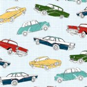 M Makower Transport - 3453 - Retro Cars on Grey Check - 5631 S20 - Cotton Fabric